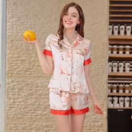 Stylish Artificial Silk Pajamas Set Short Sleeves Shirt Top + Shorts Set Nightwear Nightgown Homewear Pink/M