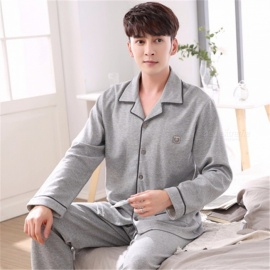 Spring Autumn Men\'s Pajamas Set Sleepwear, Long-Sleeved Turn-Down Collar Plus Size Nightwear Homewear Gray/M