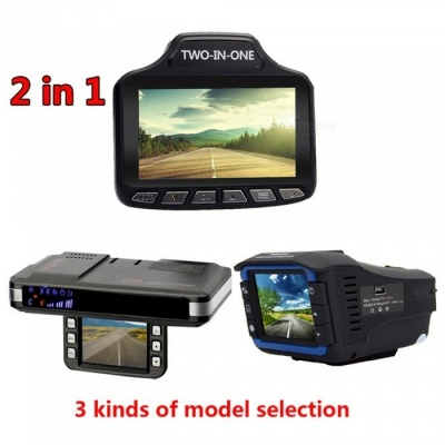 720P Multi Russian 3 In 1 Car DVR Recorder / Radar Speed Detector / Car Detector Recorder Black
