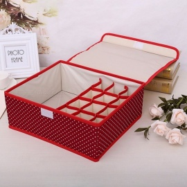 Oxford Cloth Underwear Storage Box Case Socks Ties Bra Underwear Organizer Lidded Socks Organizer M/Red