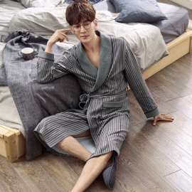 Autumn Striped Men\'s Robe, Long-sleeve Cotton Bathrobe, Casual Loose Plus Size Sling Sleepwear Pajamas Dark Grey/M