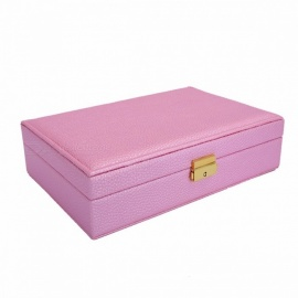 Elegant Stylish PU Leather Jewelry Storage Case Box Earrings Bracelets Necklace Case Jewelry Box M/Pink