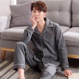 Soft Spring Autumn Men\'s Pajamas Set Sleepwear, Long-Sleeved 100% Cotton Plus Size Nightwear Homewear Dark Grey/L