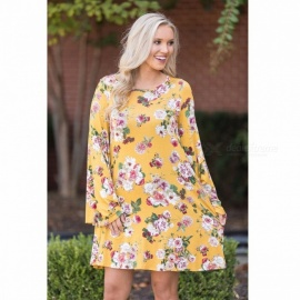 Summer Floral Print Long Sleeves Dress Loose Tops Women\'s Stylish Dress Fashion Clothes Clothing Sky Blue/S