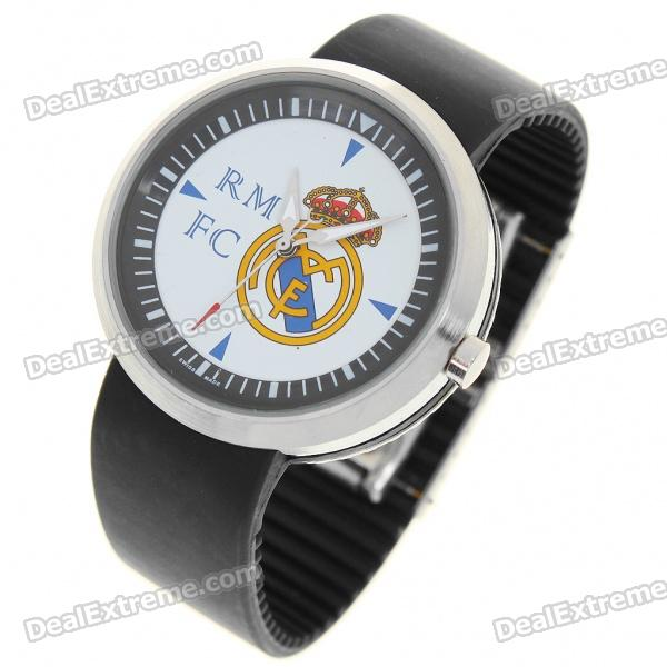 Stylish FC Football Team Logo Wrist Watch - Real Madrid (Round Shaped/1*377A)