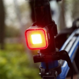 Super Bright USB Rechargeable 12 COB LED Mountain Bike Tail Light Taillight, MTB Safety Warning Bicycle Rear Light Light Grey