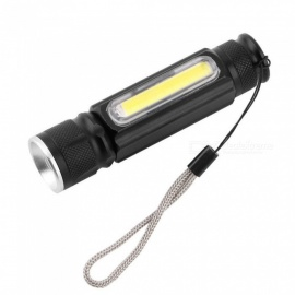 USB maneggevole potente COB LED torcia zoomable torcia ricaricabile USB magnet flash pocket tasca lampada bianca / nera