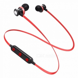 Bluetooth Wireless In-Ear Earphone, Magnetic Sport Earbuds Headset With Mic For Mobile Phones Red