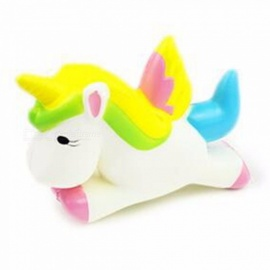 PU Slow Rebound Bread Cake Pegasus Unicorn Foam Decompression Toy, Squishy Slow Rising Cute Cartoon Strap Pendant White