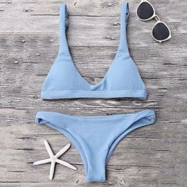 Sexy Bikini Set Bra + Underwear Set Holiday Beach Swimsuit Bikini For Women Blue/S