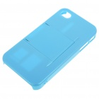 Armour Protective ABS Backside Case w/ LCD Protector + Cleaning Cloth + More for Iphone 4 - Blue