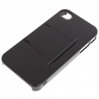 Armour Protective ABS Backside Case w/ LCD Protector + Cleaning Cloth + More for Iphone 4 - Black