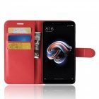 Naxtop Phone Wallet Flip Leather Holder Cover Case for Xiaomi Redmi Note 5 Pro - Red