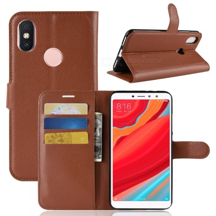 Naxtop Phone Wallet Flip Leather Holder Cover Case for Xiaomi Redmi S2 (Redmi Y2) - Brown