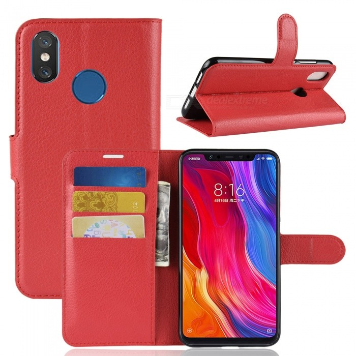 Naxtop Phone Wallet Flip Leather Holder Cover Case for Xiaomi Mi 8 - Red