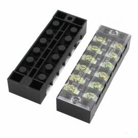 BTOOMET 10Pcs 600V 25A 6 Positions 6P Dual Rows Covered Barrier Screw Terminal Block