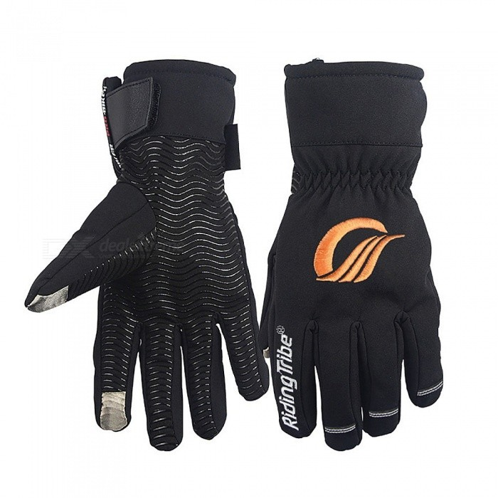 RidingTribe Winter Motorcycle Gloves Warm Anti-skid Touch Screen - Black (Size L / Pair)