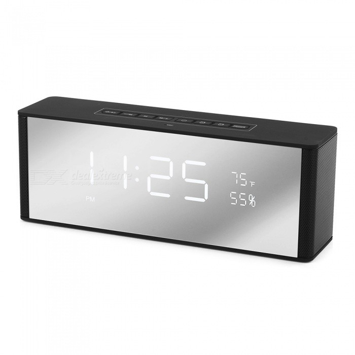 ZAPET Speaker Portable Bluetooth Speaker Wireless Stereo Music Soundbox LED Time Display Clock Alarm Loudspeaker Black