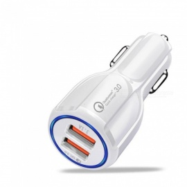 3.1A QC 3.0 Dual USB Quick Fast Car Charger for IPHONE / Samsung / Xiaomi - White