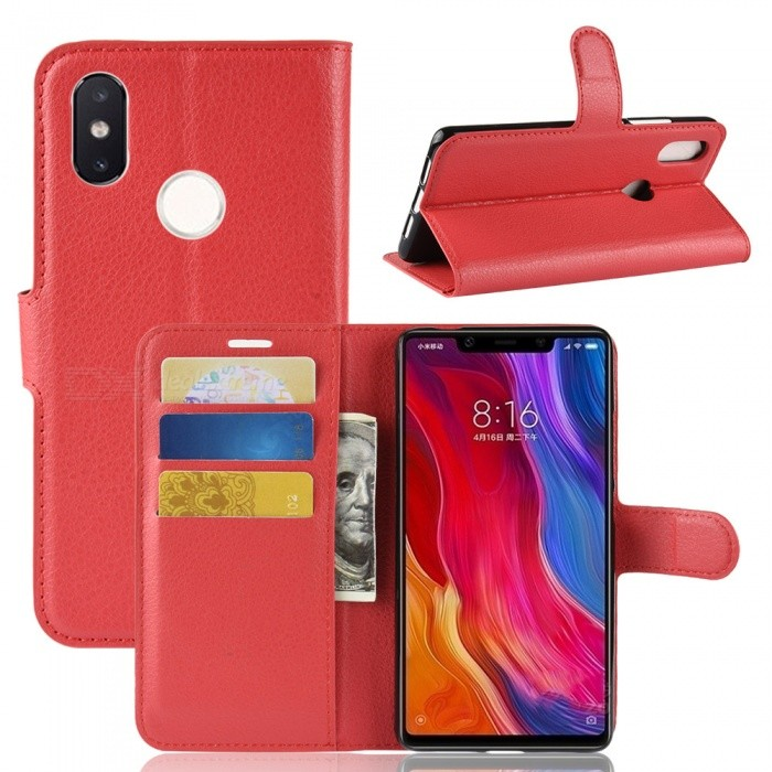 Naxtop Phone Wallet Flip Leather Holder Cover Case for Xiaomi Mi 8 SE - Red