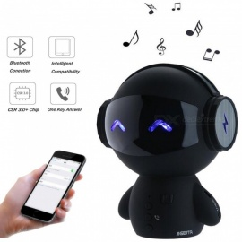 ESAMACT Mini Intelligent Robot Bluetooth Speaker Smart-robot Cute Bass Portable Bluetooth Speaker for Karaoke Power Bank - Black
