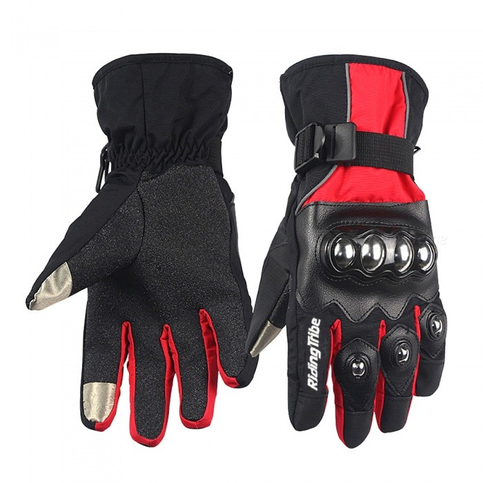 Riding Tribe Motorcycle Winter Warm Waterproof Touch Screen Gloves - Black (Pair / L-Size)