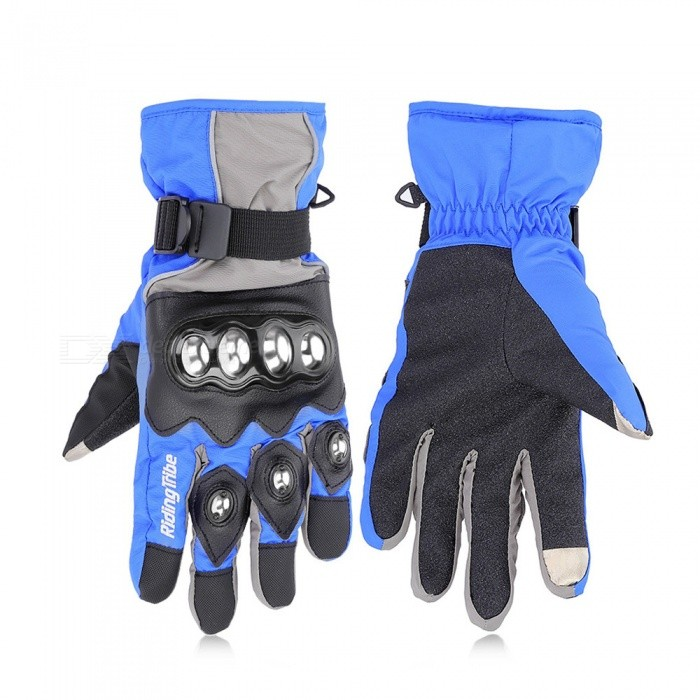 Riding Tribe Motorcycle Winter Warm Waterproof Touch Screen Gloves - Blue (Pair / XL-Size)