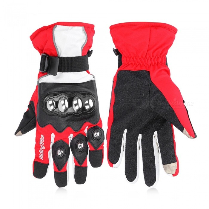 Riding Tribe Motorcycle Winter Warm Waterproof Touch Screen Gloves - Red (Pair / XL-Size)