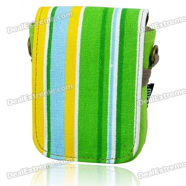 Matin Protective Cotton Canvas Carrying Pouch with Strap for Compact Digital Camera - Green