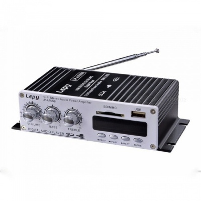Lepy LP - A7USB Bluetooth Power Amplifier W/ 12V 3A Power And Audio Cable, FM SD USB MP3 Player For Home Car Black