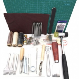 ESAMACT Leather Tool Set w/ Carving Punching Hole Cutting Knife, Manual Suture Needle