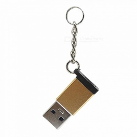 Aluminum Type-C3.0 Female to USB3.0 Male Adapter with Chain - Golden