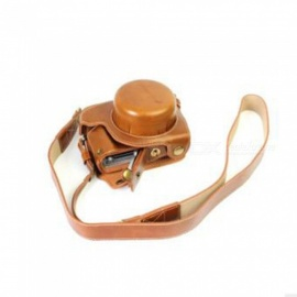 JEDX PU Leather Camera Protective Cover + Strap for Panasonic DMC-GF8/GF7 - Coffee