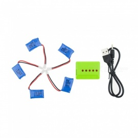 5Pcs 3.7V 150mAh Li-po Battery with 5-in-1 Green Charger for Hubsan H107 H107C SYMA X5C JJRC H8 mini