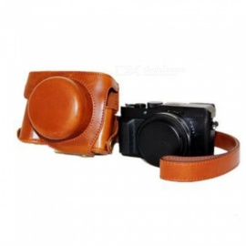 JEDX PU Leather Camera Bag Protective Shell with Strap for Panasonic LX100 - Coffee