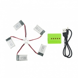 5Pcs 3.7V 400mAh Li-po Battery with 5-in-1 Green Charger for Hubsan H107 H107C SYMA X5C jjrc H8 mini