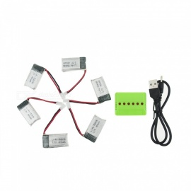6Pcs 3.7V 400mAh Li-po Battery with 6-in-1 Green Charger for Hubsan H107 H107C SYMA X5C JJRC H8 mini