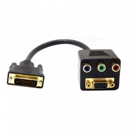 Multifunctional DVI-I to VGA DVI 24 + 5 Male to VGA RCA RGB AV Female Splitter Cable Connection - Black