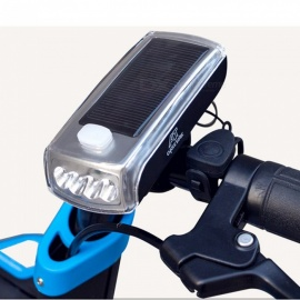 Solar Powered Waterproof Bike Headlight + Horn - Black