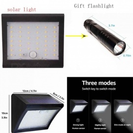 38-LED Solar Powered 3-Mode Garden Light with Human Body Induction IR Sensor LED Mini Flashlight