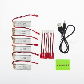 6Pcs 3.7V 600mAh Li-po Battery with 6-in-1 Charger and Charging Cable for Hubsan H107 H107C SYMA X5C JJRC H8 mini