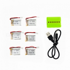 6Pcs 3.7V 250mAh Li-po Battery with 6-in-1 Charger for Hubsan H107 H107C SYMA X5C JJRC H8 mini