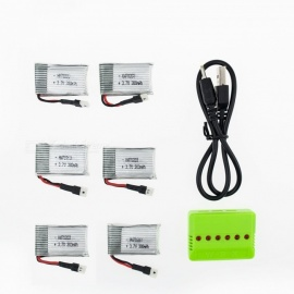 6Pcs 3.7V 380mAh Li-po Battery with 6-in-1 Charger for Hubsan H107 H107C SYMA X5C JJRC H8 mini