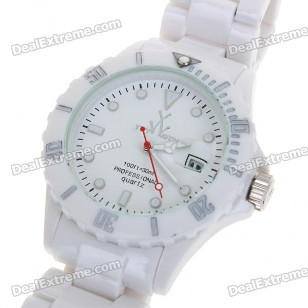 Fashion Waterproof Plastic Quartz Sports Wrist Watch with Calendar - White (1*626D)