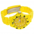 Fashion Waterproof Plastic Quartz Sports Wrist Watch with Calendar - Yellow (1*626D)