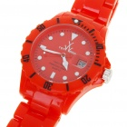 Fashion Waterproof Plastic Quartz Sports Wrist Watch with Calendar - Red (1*626D)