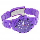 Fashion Waterproof Plastic Quartz Sports Wrist Watch with Calendar - Purple (1*626D)