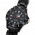 Fashion Waterproof Plastic Quartz Sports Wrist Watch with Calendar - Black (1*626D)