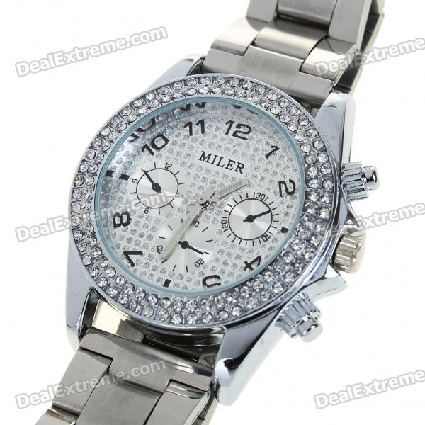 Fashion Ladies Women Crystal Decoration Quartz Wrist Watch - Silver (1*377)