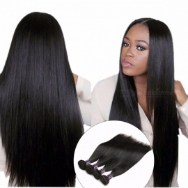 4 Bundles Straight Hair, Brazilian Hair Weave 4 Bundles Deal, 8-28inch Double Weft 100% Non Remy Human Hair Extensions 22 24 26 28